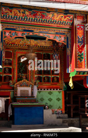 Nepal, Namche Bazaar, Buddhist Gompa traditionally decorated painted Lama's throne in courtyard - Stock Photo