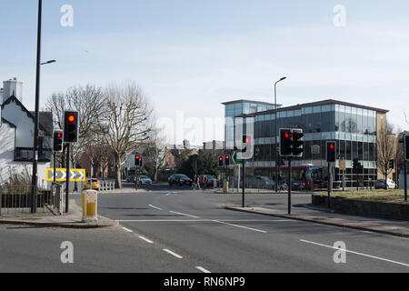 traffic lights showing red at  richmond circus, richmond upon thames, surrey, england - Stock Photo