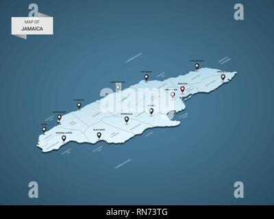 Isometric 3D Jamaica map,  vector illustration with cities, borders, capital, administrative divisions and pointer marks; gradient blue background.  C - Stock Photo