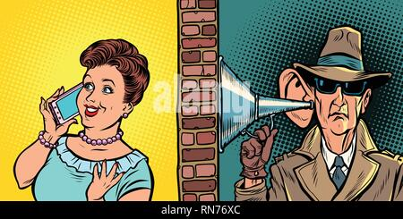 State wiretapping conversations, spy listens to conversation on the phone. Comic cartoon pop art retro vector illustration hand drawing - Stock Photo