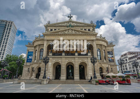 Frankfurt Am Main, Germany - July 26, 2016: Summer view of tourists and local people at Opernplatz square in front of Old Opera house (Alte Opera) his - Stock Photo