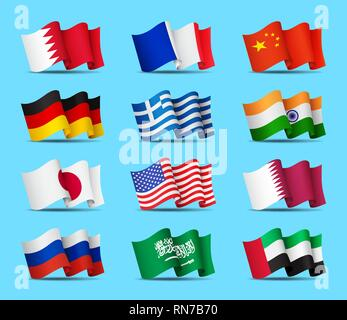 Set of waving flags icons isolated, official symbols of countrys, vector illustration. - Stock Photo