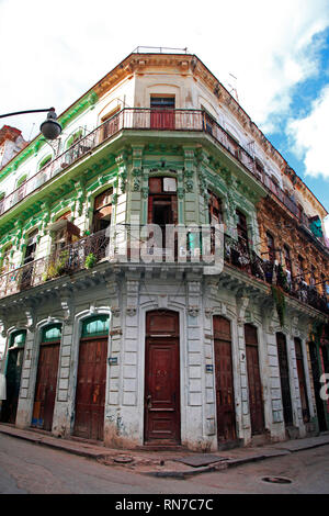 Beautiful facade of a 1906 building on Lamparilla street in the old Havana - Stock Photo