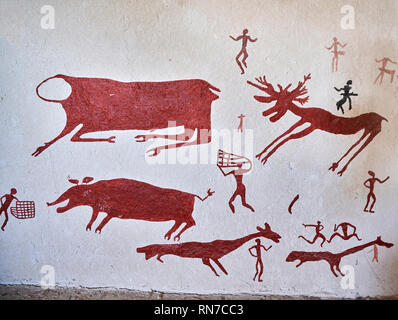 Recontructed fresco of an original hunting scene found at Catalhoyuk. Reconstructed houses, Catalyhoyuk Archaeological Site, Çumra, Konya, Turkey - Stock Photo