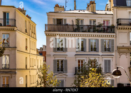 Paris apartment building with white shutters and a garden on the top floor balcony along  Avenue Daumesnil in the12th arrondissement  Paris ,France - Stock Photo
