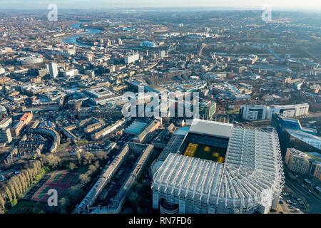 Newcastle upon Tyne aerial view city skyline on the River Tyne in northeast England feat. Newcastle United stadium St James Park with landmarks - Stock Photo