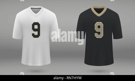 Realistic american football jersey New Orleans Saints, shirt template for kit. Vector illustration - Stock Photo