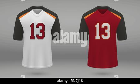 Realistic american football jersey Tampa Bay Buccaneers, shirt template for kit. Vector illustration - Stock Photo