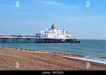 View of Eastbourne Pier, Beach and Seafront from the Promenade, England, UK - Stock Photo
