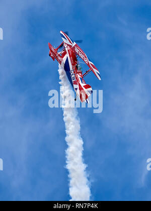 "Rich Goodwin performs at an air show in his Pitts Special S-2S ""Muscle Biplane"" - Stock Photo"