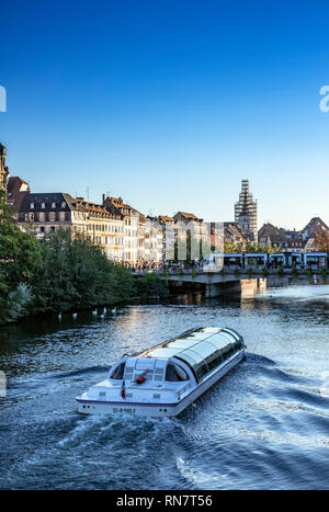 Strasbourg, Alsace, France, Batorama sightseeing river cruise boat, Ill river, late afternoon light, - Stock Photo