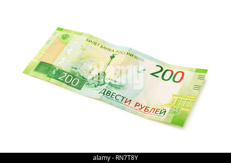 New Russian money, banknotes worth two hundred rubles close-up isolated on white background - Stock Photo