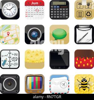 Set of apps vector icons on white background - Stock Photo