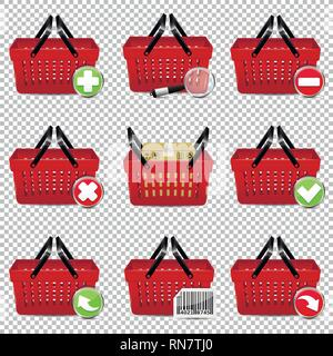 Red vector shopping baskets isolated on transparent background - Stock Photo
