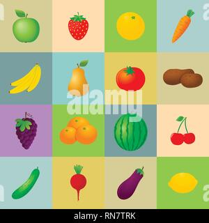 Fruits and vegetables icons set - Stock Photo