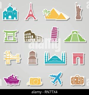 Landmarks stickers on grey background - Stock Photo