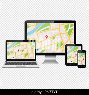 GPS map on modern digital devices isolated on transparent background - Stock Photo