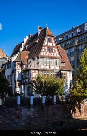 Strasbourg, Alsace, France, Alfred Marzolff half-timbered house, school director housing, Lycée des Pontonniers, international high school, - Stock Photo