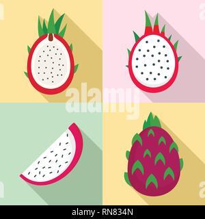 Pitaya icons set. Flat set of pitaya vector icons for web design - Stock Photo