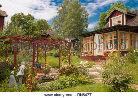 Sundborn/Dalarna/Sweden ,July04,2014- beautiful swedish house with a garden - Stock Photo