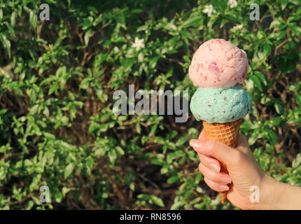 Two scoops ice cream cone in hand against blurry flowering tree with free space for text or design - Stock Photo