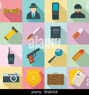 Crime investigation icons set. Flat set of crime investigation vector icons for web design - Stock Photo