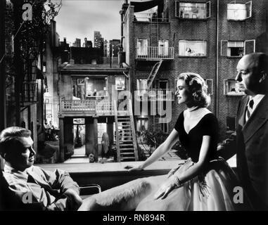 STEWART,KELLY,HITCHCOCK, REAR WINDOW, 1954 - Stock Photo