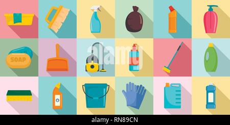 Cleaner equipment icons set. Flat set of cleaner equipment vector icons for web design - Stock Photo