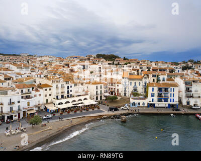 Cadaques, a small coastal town, is the people of the Catalan painter Salvador Dalí. The Church of Cadaqués is a symbol. Costa Brava, Girona Catalonia  - Stock Photo