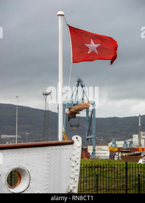 SS Nomadic is the last remaining White Star Line ship. She sits in Hamilton Dock, Belfast - Stock Photo
