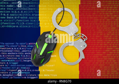 Chad flag  and handcuffed modern backlit computer mouse. Creative concept of combating computer crime, hackers and piracy - Stock Photo