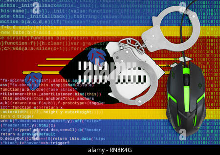 Swaziland flag  and handcuffed modern backlit computer mouse. Creative concept of combating computer crime, hackers and piracy - Stock Photo