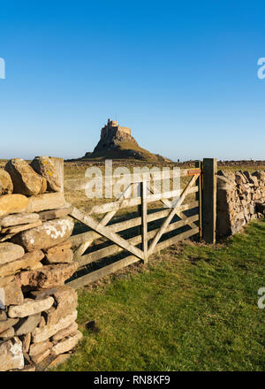View of Lindisfarne Castle after renovations completed in February 2019, on Holy Island in Northumberland , England, UK - Stock Photo