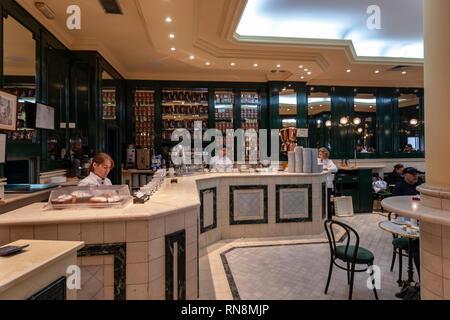 Interior of the typical Chocolatería San Ginés, Chocolate Cafe, Pasadizo de San Ginés,, Madrid, Spain - Stock Photo