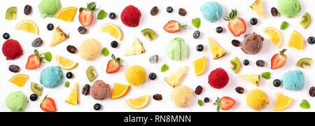 Berries and ice cream balls on white background. Summer concept. Banner - Stock Photo