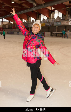 jonsdorf germany - january 31, 2019: Christine Stueber-Errath, the figure skating world champion from 1974 spends an afternoon on the rink in jonsdorf - Stock Photo