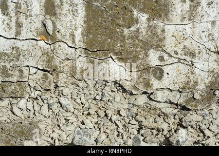 Texture of concrete, cement old moss covered background. - Stock Photo
