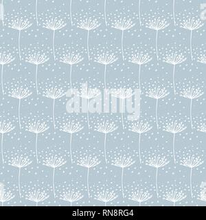 Vector Hand drawn white dandelion on light blue background repeat seamless pattern.