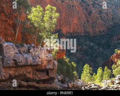 view of the gorge walls at ormiston gorge in the west macdonnell ranges - Stock Photo