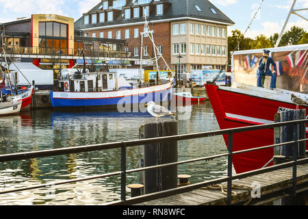 A single sea gull sits atop a wooden post in the Alter Strom canal in the picturesque harbor city of Warnemunde, Germany - Stock Photo