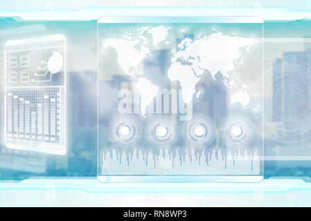 Sci-fi background for global business and future technologies - Stock Photo