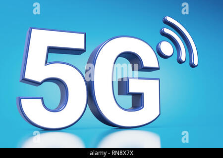 5G white letters in huge closeup standing on blue background with copyspace available. 3D rendering - Stock Photo