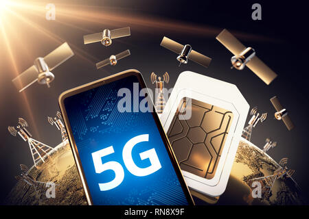 Global connectivity concept with worldwide communication network and 5G word. 3D rendering - Stock Photo