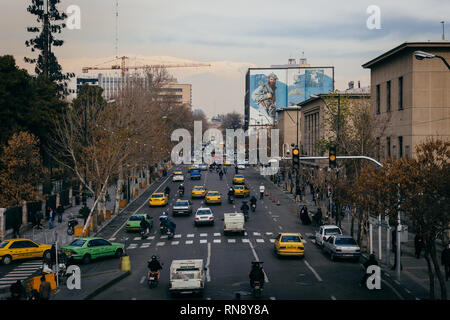 Busy traffic in the center of Tehran, Iran - Stock Photo