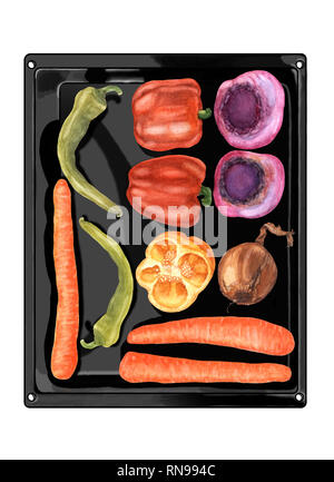 Watercolor hand drawn vegetables on black metallic baking pan, flat lay. Top view of beetroots, carrots, peppers, chili and onion. Fresh food. - Stock Photo