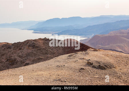 Amazing panoramic landscape view on Red Sea coastline, Egypt, Sinai from the Mountain or Har Cfachot in Eilat ,Israel - Stock Photo