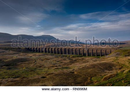 Aerial view of Ribblehead Viaduct, North Yorkshire - Stock Photo