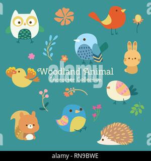 cute character set of woodland animals - Stock Photo