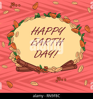 Word writing text Happy Earth Day. Business concept for Worldwide celebration of ecology environment preservation Wreath Made of Different Color Seeds - Stock Photo