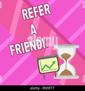 Word writing text Refer A Friend. Business concept for Recommendation Appoint someone qualified for the task - Stock Photo